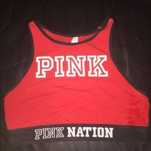 Red pink nation sports bra
